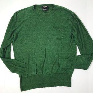 Todd Snyder Mens Green Linen Crew Sweater M